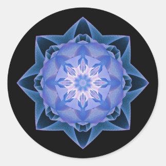 Fractal Stardust azul marino Pegatina Redonda