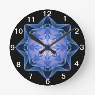 Fractal Stardust - azul marino Reloj Redondo Mediano
