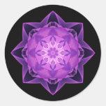 Fractal Stardust purple Round Stickers