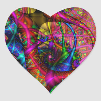 Fractal Sticker Heart Sticker