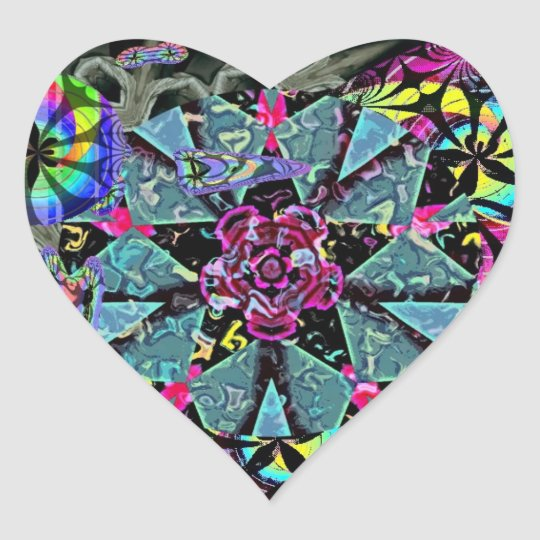 Fractal Sticker: Rose Wheel Heart Heart Sticker