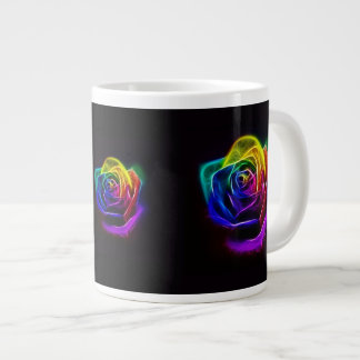 Fractal subió arco iris tazas extra grande