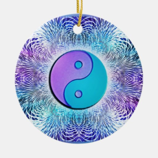 Fractal Sun Yin-Yang in Cool Pastels Christmas Ornaments