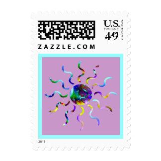 Fractal Sunburst Postage Stamps