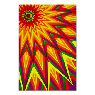 Fractal Sunflower Colorful Abstract Floral Art Poster