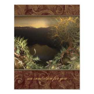 Fractal Sunrise Small Party Invitations