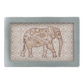 Fractal swirl elephant - brown and taupe belt buckle