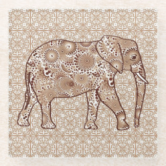 Fractal swirl elephant - brown and taupe glass coaster