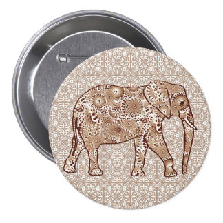 Fractal swirl elephant - brown and taupe pinback button