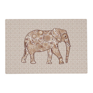 Fractal swirl elephant - brown and taupe placemat
