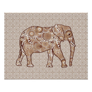 Fractal swirl elephant - brown and taupe poster