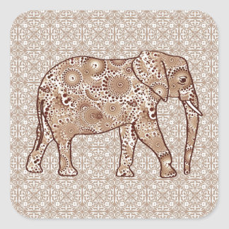 Fractal swirl elephant - brown and taupe square sticker
