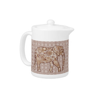 Fractal swirl elephant - brown and taupe teapot