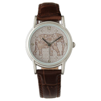 Fractal swirl elephant - brown and taupe wrist watch