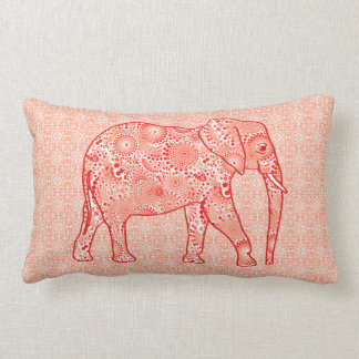 Fractal swirl elephant - coral orange and white lumbar pillow