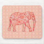 Fractal swirl elephant - coral orange and white mouse pads