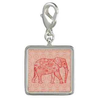 Fractal swirl elephant - coral orange and white charm bracelet