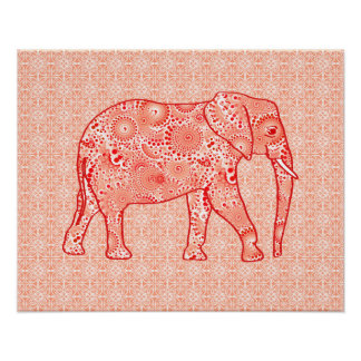 Fractal swirl elephant - coral orange and white poster