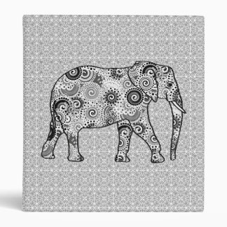 Fractal swirl elephant - grey, black and white 3 ring binder