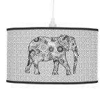 Fractal swirl elephant - grey, black and white hanging pendant lamp