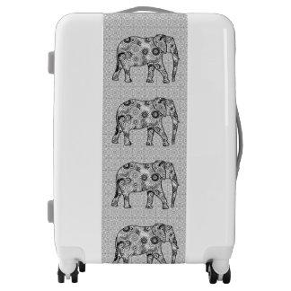 Fractal swirl elephant - grey, black and white luggage
