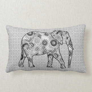 Fractal swirl elephant - grey, black and white lumbar pillow