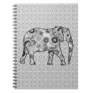 Fractal swirl elephant - grey, black and white notebook