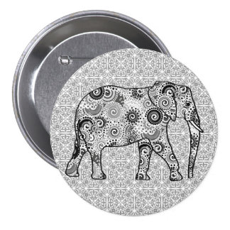 Fractal swirl elephant - grey, black and white pinback button