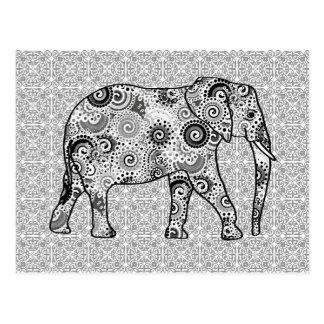 Fractal swirl elephant - grey, black and white postcard