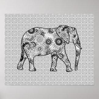 Fractal swirl elephant - grey, black and white poster