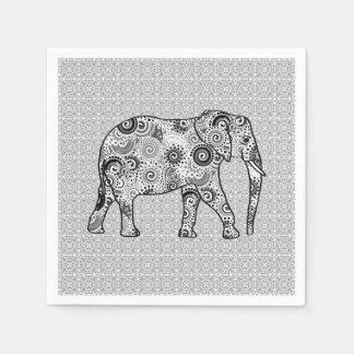 Fractal swirl elephant - grey black and white paper napkin
