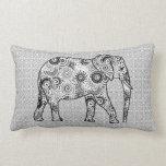 Fractal swirl elephant - grey, black and white throw pillow