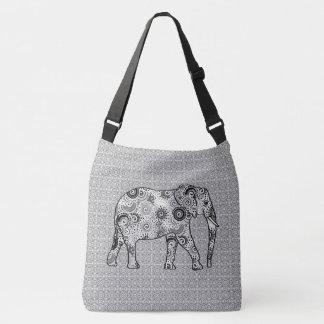 Fractal swirl elephant - grey, black and white tote bag