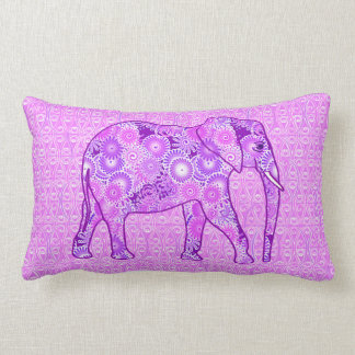 Fractal swirl elephant - purple and orchid throw pillows