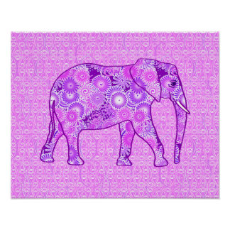Fractal swirl elephant - purple and orchid poster