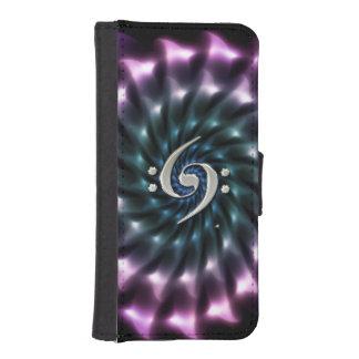 Fractal Swirl Music Double Bass Clef Wallet Case Phone Wallets