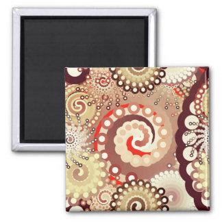 Fractal swirl pattern chocolate and cream fridge magnet