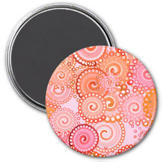 Fractal swirl pattern, coral and pink 3 inch round magnet