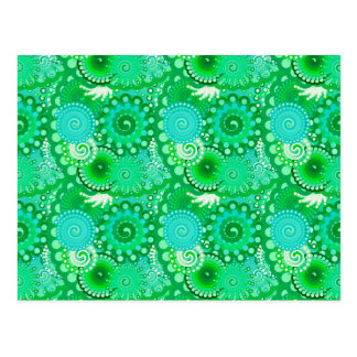 Fractal swirl pattern, jade, turquoise, aqua postcard