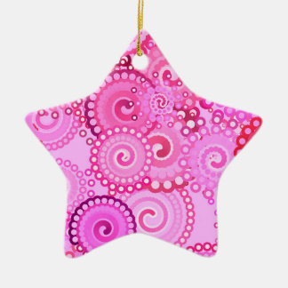 Fractal swirl pattern, pink and fuchsia ceramic ornament