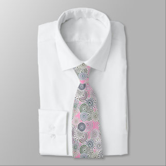 Fractal swirl pattern, pink and grey neck tie