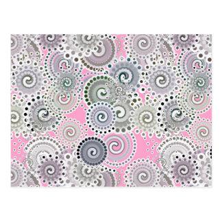 Fractal swirl pattern, pink and grey postcard