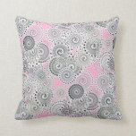 Fractal swirl pattern, pink and grey throw pillows