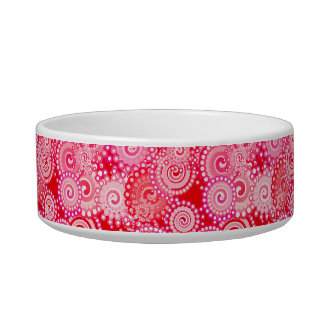 Fractal swirl pattern, red and hot pink bowl