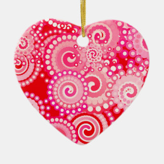 Fractal swirl pattern, red and hot pink ceramic ornament