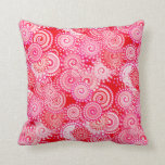 Fractal swirl pattern, red and hot pink pillow