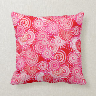 Fractal swirl pattern, red and hot pink throw pillow