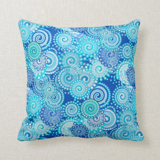 Fractal swirl pattern, shades of blue throw pillow