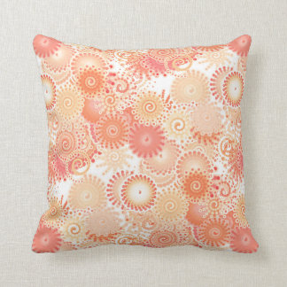 Fractal swirl pattern, shades of coral and peach throw pillow