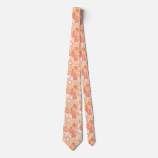 Fractal swirl pattern, shades of coral and peach tie